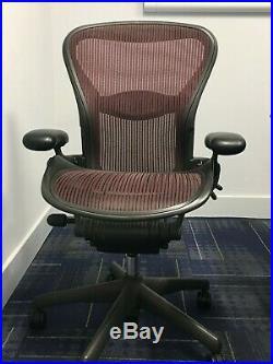 8 Herman Miller Aeron Chair Burgundy Lot of 8