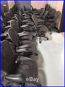 AVAILABLE (100) Herman Miller Aeron B Type Black Withlumbar Very Good Condition