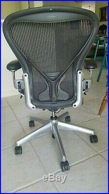 Authentic Herman Miller Aeron ALUMINUM Chair Size B BLACK LEATHER UPGRADE