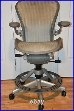 Authentic Herman Miller Aeron Work Stool, Counter Height Design Within Reach