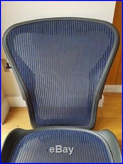 Blue Herman Miller Aeron Chair Mesh Size B Back and Seat Pan Frame Set