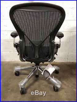 Brand New Herman Miller Classic Aeron Chair Fully Adjustabl Polished Base Size B