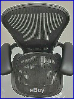 HERMAN MILLER AERON fully adjustable SIZE C LARGE BLACK CERTIFIED REFURBISHED