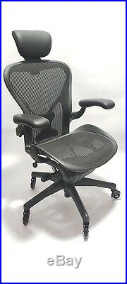 Herman Miller AERON Chair Size B Posturefit Headrest Soft Casters
