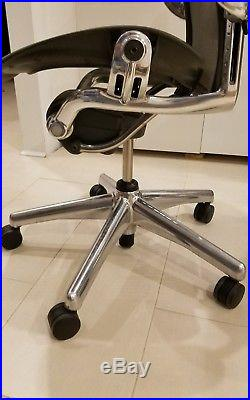 Herman Miller Aeron Chair Black with Chrome Base Size B (Excellent)