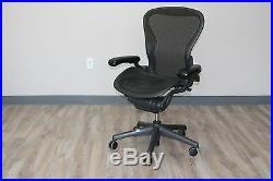 Herman Miller Aeron Chair Medium Size B in Carbon Pellicle Classic on Graphite