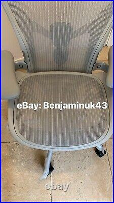 Herman Miller Aeron Chair Remastered 2021 Size B Mineral Grey Fully Loaded