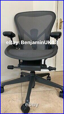 Herman Miller Aeron Chair Size B 2020 Remastered Fully Loaded Graphite