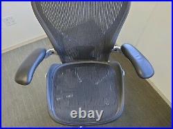 Herman Miller Aeron Chair Size B Adjustable Back Support Leather Armrests