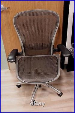 Herman Miller Aeron Chair in Size C on Graphite/Titanium Frame in Brownstone
