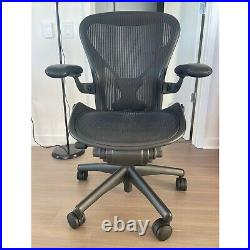Herman Miller Aeron Classic Size B Chair Fully Loaded, PostureFit, Leather Arms