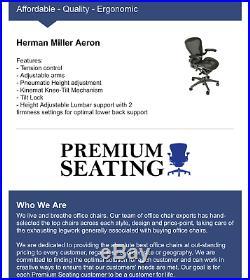 Herman Miller Aeron Fully Loaded Adj Arms, Lumbar, Tilt Lock FREE SHIPPING