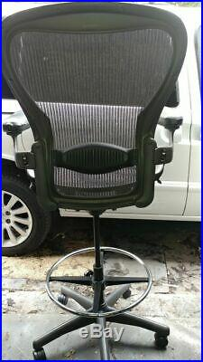 Herman Miller Aeron Lab Drafting Stool Sit Stand with Ring and Wheels Size B