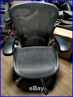 Herman Miller Aeron Mesh Desk Chair Medium Sz B polished aluminum lumbar