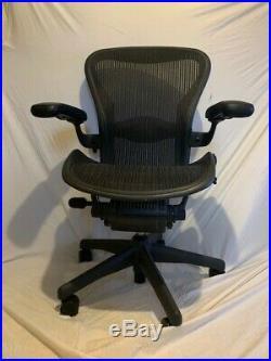 Herman Miller Aeron Office Chair Navy Blue, Black, Size B