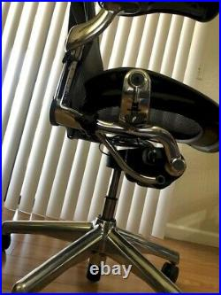 Herman Miller Aeron Office Chair Polished Aluminum Size B Very Good Condition