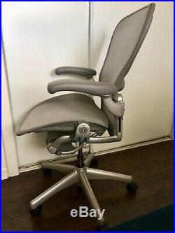Herman Miller Aeron Office Chair, Titanium Silver, Size C Large. Lumbar & LOADED