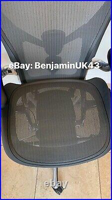 Herman Miller Aeron Remastered Chair Size B Polished Aluminium Top Spec