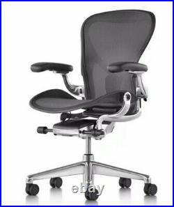 Herman Miller Aeron Size B Office Chair Graphite, Fully Adj Arms. New Free Ship