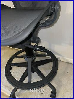 Herman Miller Aeron Stool Bar Height Leather Armpads Tilt Limiter & Seat Angle