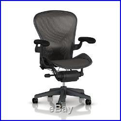 Herman Miller Aeron Tilt Limiter Task Chair, Adjustable Vinyl Arms, Graphite / B