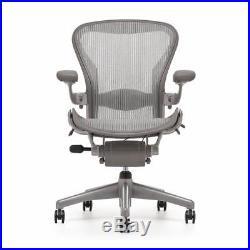 Herman Miller Aeron Titanium Smoke B Fully Loaded Chair with Lumbar