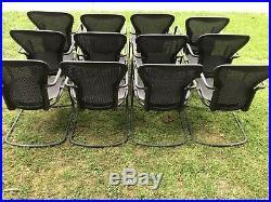 Herman Miller Classic Aeron Side Chair Size B Black/Grey pellicle mesh Lot 12