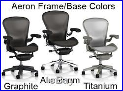 Herman Miller Polished Aluminum Chrome Base Aeron Chair Leather Small Size A NEW