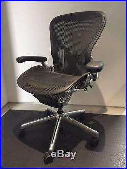 Herman Miller Posture Fit Size B Aeron Chairs with Polished Aluminum Base