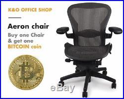 Herman Miller Size B Aeron Chairs Semi Loaded, Adjustable with Lumbar + BTC Coin