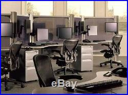 NEW Aeron + Leather Arms Herman Miller ergonomic office desk chair Medium Size B