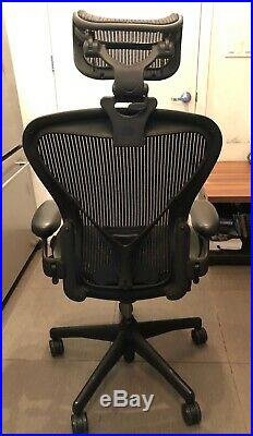 Used Herman Miller Aeron Office Chair Size B with Aftermarket Headrest